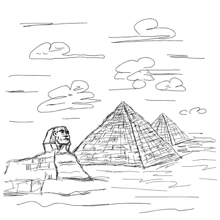 hand drawn illustration of famous tourist destination sphinx and pyramids of Egypt. Stock Vector - 15979389