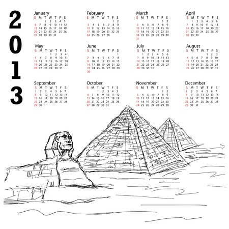 2013 calendar with hand drawn illustration of famous tourist destination sphinx and pyramids of Egypt. Stock Vector - 15550332