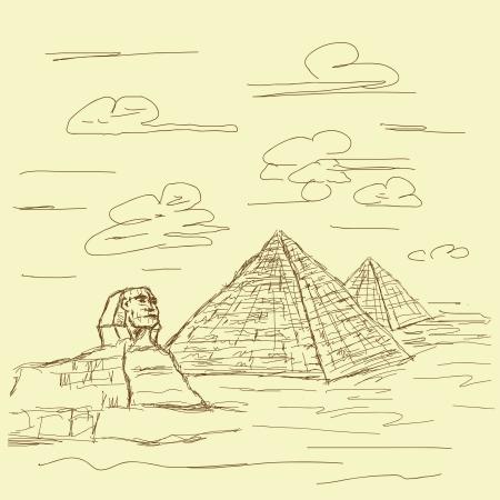 esfinge: mano de la vendimia ejemplo dibujado de esfinge famoso destino turístico y las pirámides de Egipto. Vectores