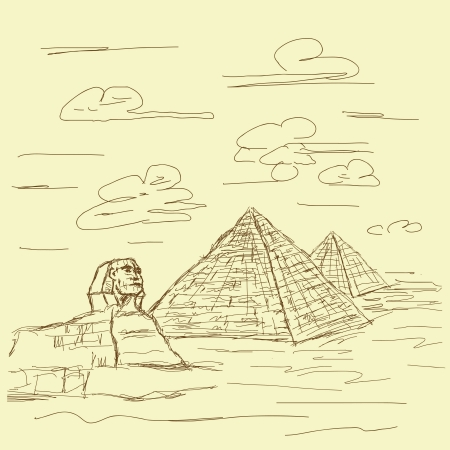 Sphinx: vintage hand drawn illustration of famous tourist destination sphinx and pyramids of Egypt.