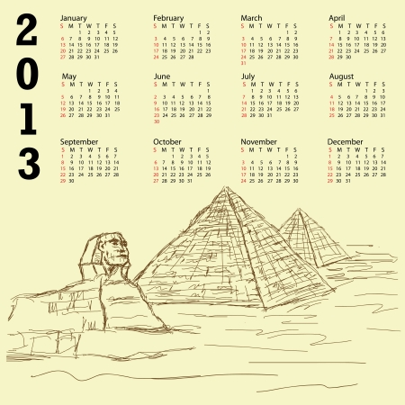 vintage 2013 calendar with hand drawn illustration of famous tourist destination sphinx and pyramids of Egypt. Stock Vector - 15550334