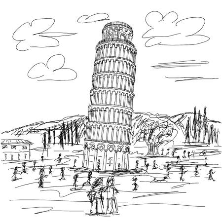 cultura italiana: mano, disegnato, illustrazione, di, destinazione turistica famosa torre pendente di Pisa, Italia.