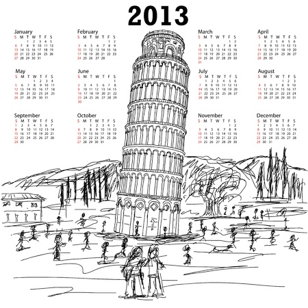2013 calendar of hand drawn illustration of famous tourist destination leaning tower of pisa Italy. Vector