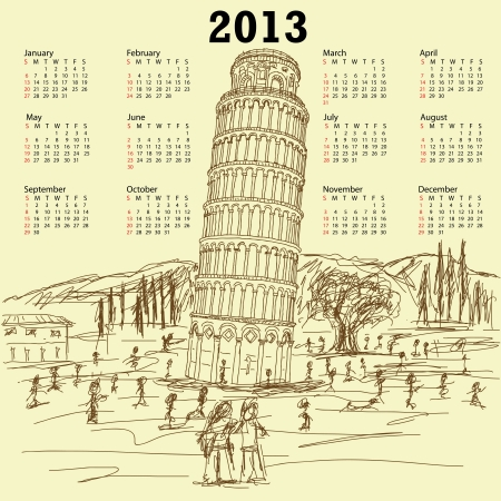 tourist destination: 2013 vintage calendar of hand drawn illustration of famous tourist destination leaning tower of pisa Italy.