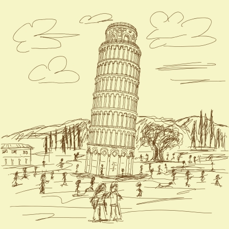 tower of pisa: hand drawn illustration of famous tourist destination leaning tower of pisa Italy in vintage color.