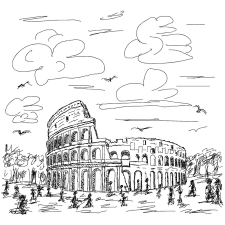 amphitheatre: hand drawn illustration of famous ancient tourist destination the colosseum of Rome Italy.