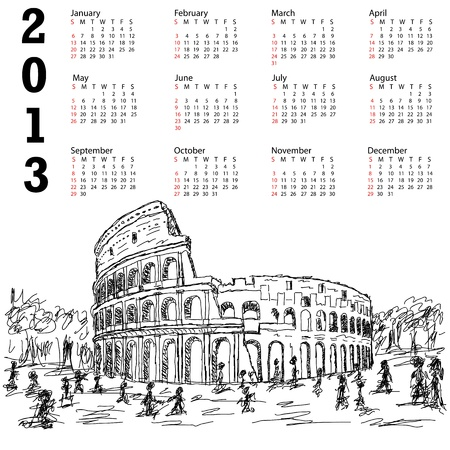 2013 ncalendar with hand drawn illustration of famous ancient tourist destination the colosseum of Rome Italy. Illustration