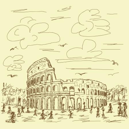 main Vintage illustration tirée du célèbre destination touristique du Colisée antique de Rome en Italie.