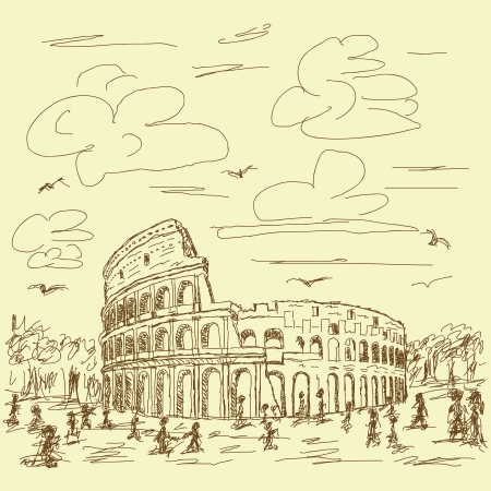 amphitheatre: vintage hand drawn illustration of famous ancient tourist destination the colosseum of Rome Italy.