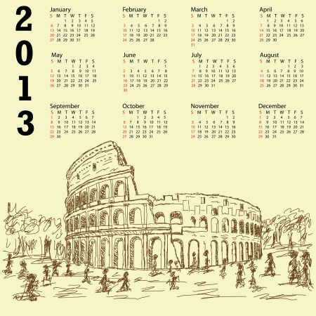 2013 calendar with vintage hand drawn illustration of famous ancient tourist destination the colosseum of Rome Italy. Illustration