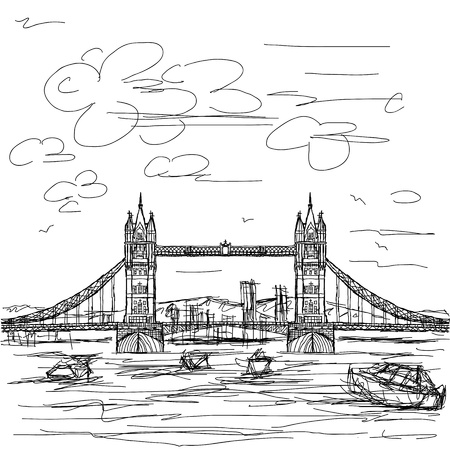 london tower bridge: hand drawn illustration of famous tourist destination tower bridge of london.