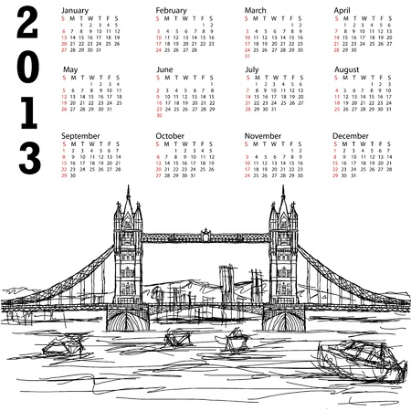 2013 calendar with hand drawn illustration of famous tourist destination tower bridge of london. Stock Vector - 15566470