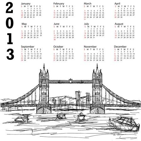 2013 calendar with hand drawn illustration of famous tourist destination tower bridge of london. Stock Vector - 15566470