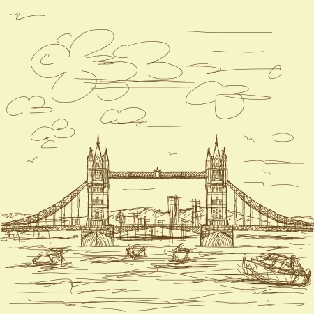 london tower bridge: vintage hand drawn illustration of famous tourist destination tower bridge of london. Illustration