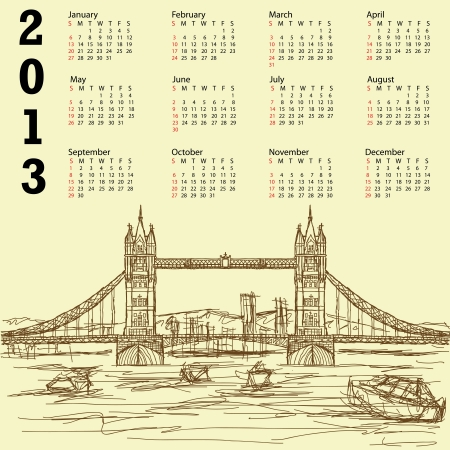 2013 calendar with vintage hand drawn illustration of famous tourist destination tower bridge of london. Stock Vector - 15566469