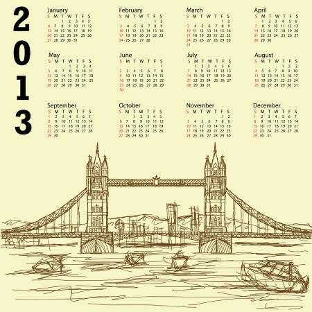 tower bridge: 2013 calendar with vintage hand drawn illustration of famous tourist destination tower bridge of london.