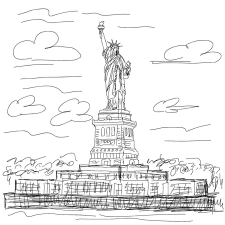 hand drawn illustration of famous tourist destination statue of liberty new york city usa.