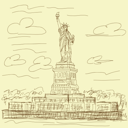 main Vintage illustration tir�e de la statue de destination touristique c�l�bre de la libert� New York USA ville.