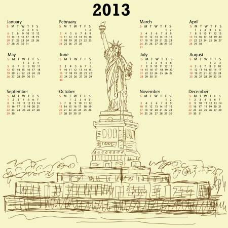 2013 calendar with vintage hand drawn illustration of famous tourist destination statue of liberty new york city usa.