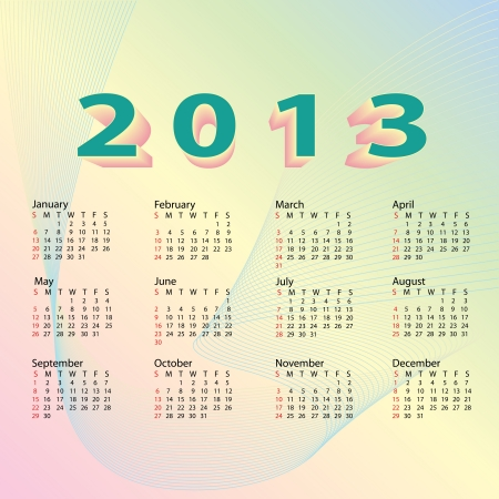 illustration of 2013 calendar with pastel color background design  Stock Vector - 15889639