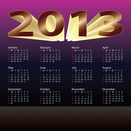 illustration of 2013 calendar colored purple, gold dark brown gradients with copy-space  Stock Vector - 15889663