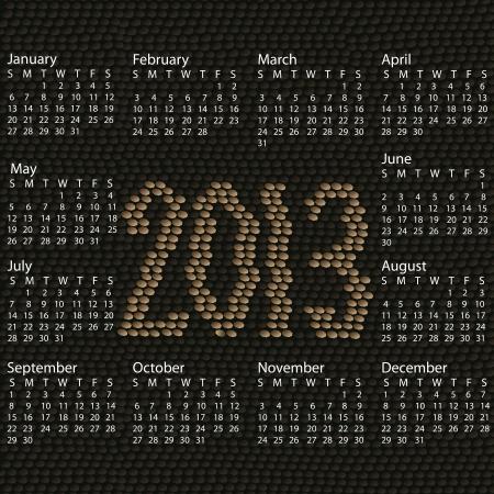 snake calendar: closeup illustration of a patterned snake skin background of year 2013 calendar