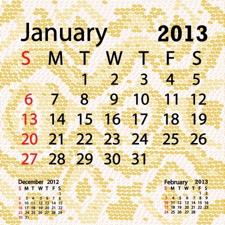 snake calendar: closeup illustration of a patterned albino snake skin background for january 2013 calendar  Illustration