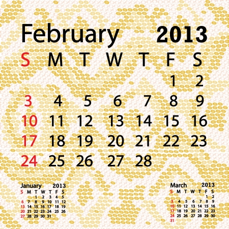 closeup illustration of a patterned albino snake skin background for february 2013 calendar  Vector