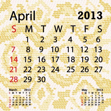 snake calendar: closeup illustration of a patterned albino snake skin background for april 2013 calendar  Illustration