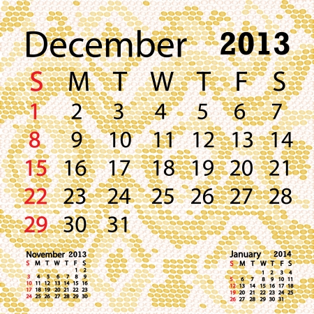 snake calendar: closeup illustration of a patterned albino snake skin background for december 2013 calendar