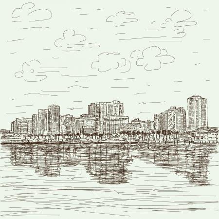 manila: disegnati a mano illustrazione di Manila Bay filippine paesaggio urbano