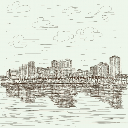 manila: hand-drawn illustration of manila bay philippines cityscape  Illustration