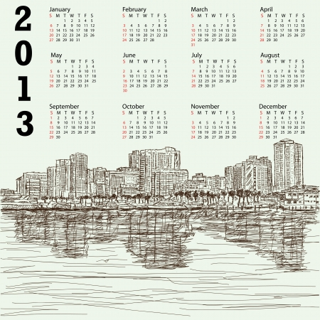 2013 calendar with hand-drawn illustration of manila bay philippines cityscape  Stock Vector - 15988878