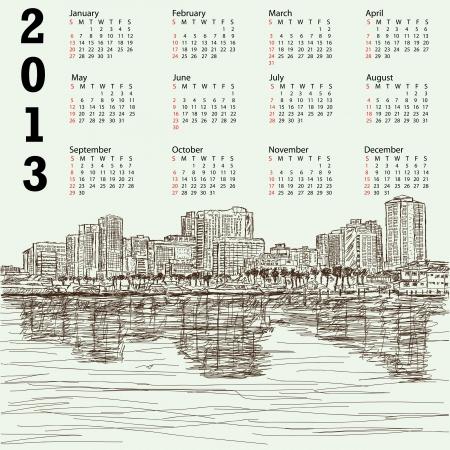 manila: 2013 calendario con disegnati a mano illustrazione di Manila Bay filippine paesaggio urbano