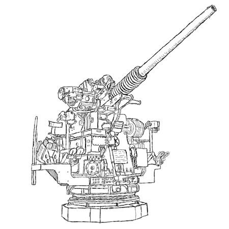 ammunition: hand drawn illustration of a 50-caliber vintage gun