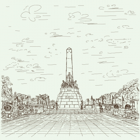 hand drawn illustration of Philippines famous destination Jose Rizal monument at Luneta park, Manila