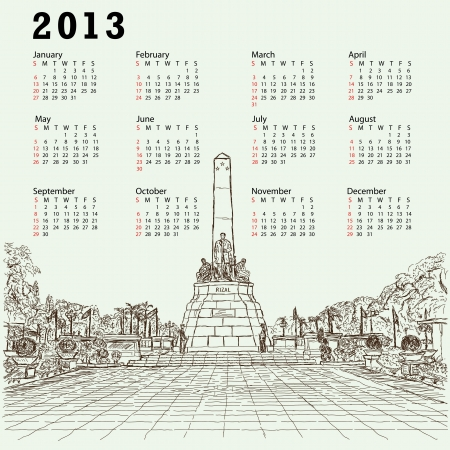 filipino: 2013 calendar with hand drawn illustration of Philippines famous destination Jose Rizal monument at Luneta park, Manila