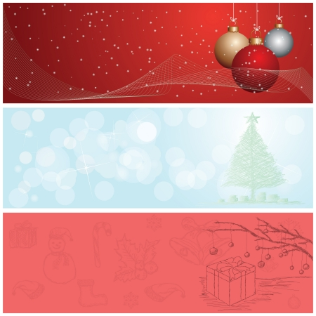 illustration of christmas banner, header background set  Vector