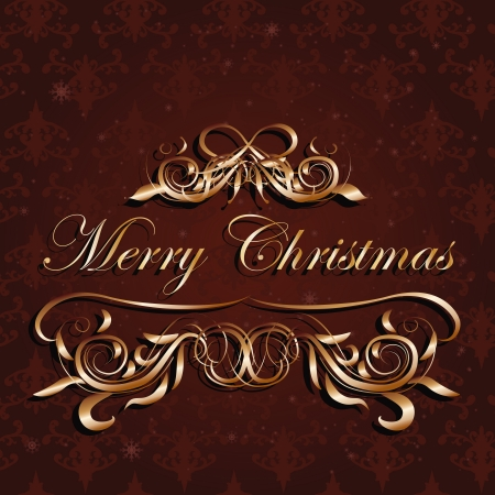 illustration of gold and brown, red christmas background  Vector