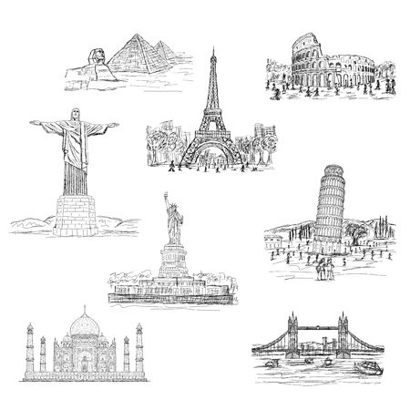 famous place: illustration of worlds famous landmarks, tourist s travel destinations isolated in white background