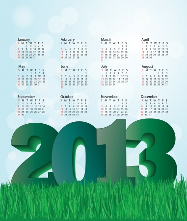 new year  nature background 2013 calendar design  Illustration