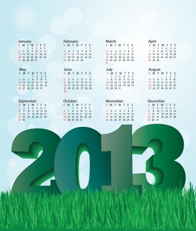 calendar design: new year  nature background 2013 calendar design  Illustration