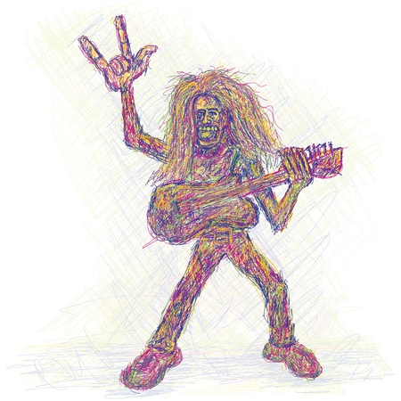 rendition: artistic colorful rendition of a rockstar playing guitar