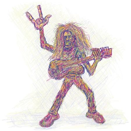rockstar: artistieke kleurrijke weergave van een rockstar met gitaar spelen