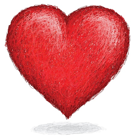 heart tone: artistic hand drawn sketch of huge elegant heart made of red tone lines    Illustration