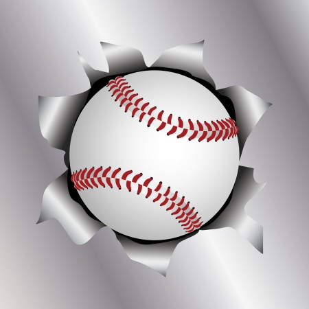 illustration of a baseball bursting trough a metal sheet effects.   Vector