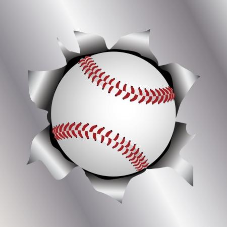 illustration of a baseball bursting trough a metal sheet effects.
