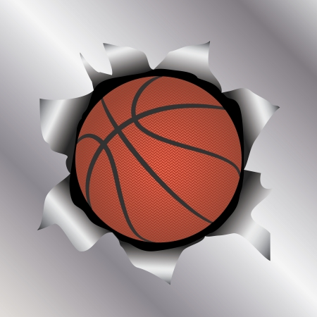 illustration of a basketball bursting trough a metal sheet effects.   Vector