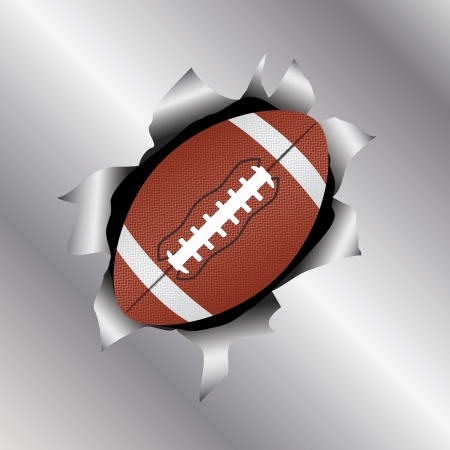 illustration of a football bursting trough a metal sheet effects.   Vector