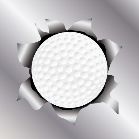 metal sheet: illustration of a golf ball bursting trough a metal sheet effects.   Illustration